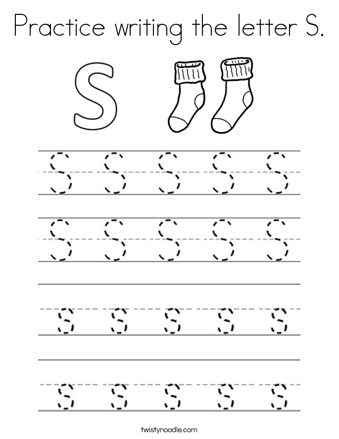 Practice writing the letter S Coloring Page Twisty Noodle