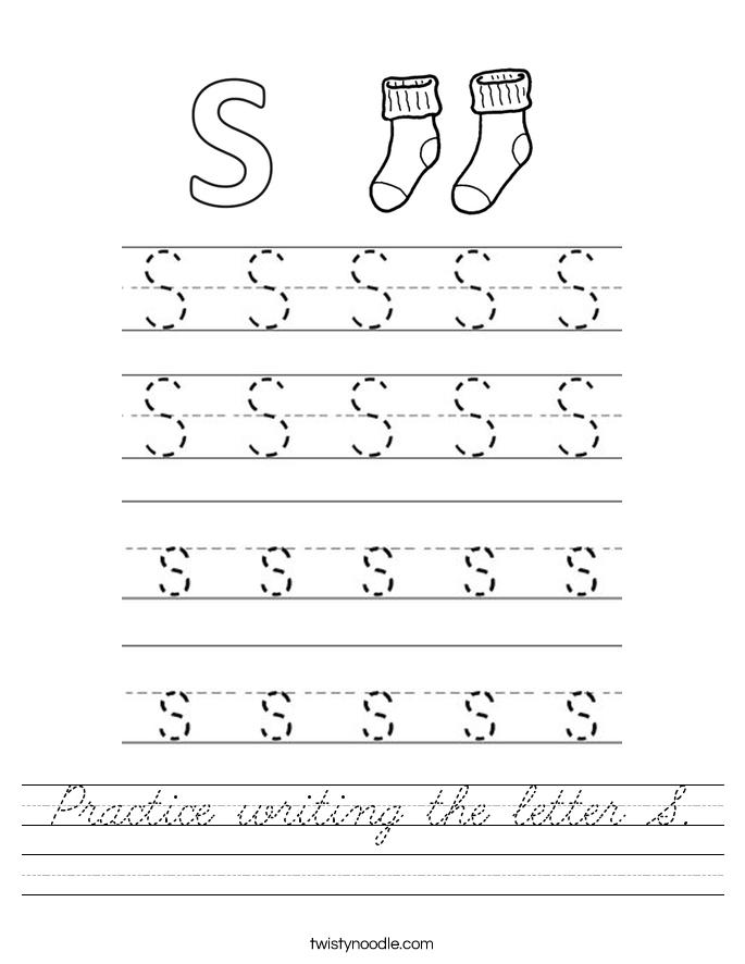practice writing the letter s worksheet cursive twisty noodle. Black Bedroom Furniture Sets. Home Design Ideas