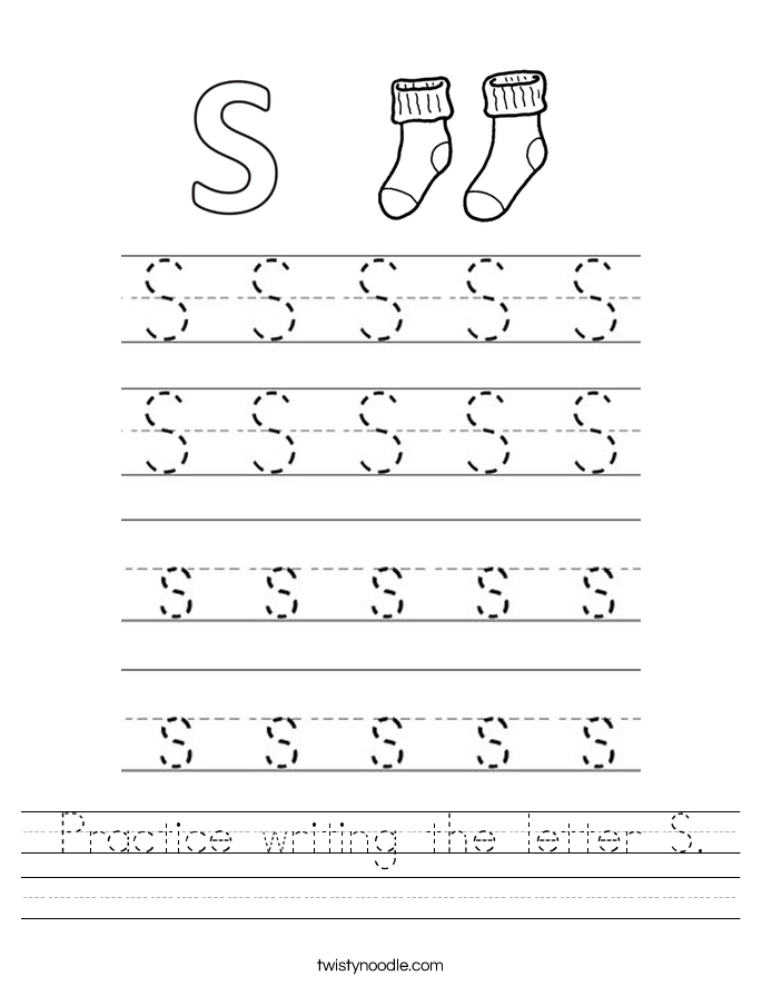 Practice writing the letter S. Worksheet