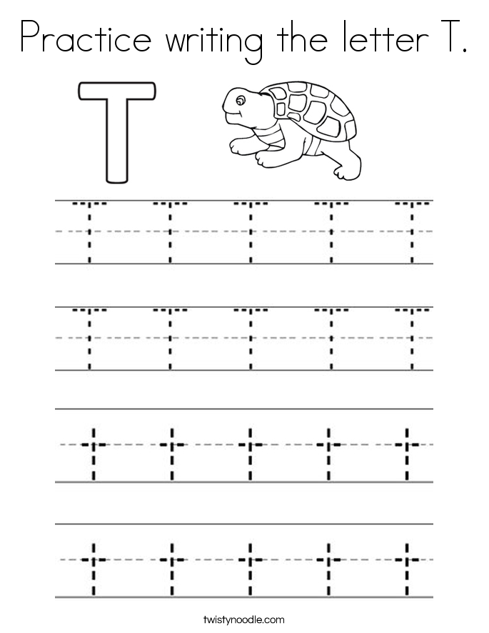 Practice writing the letter T. Coloring Page