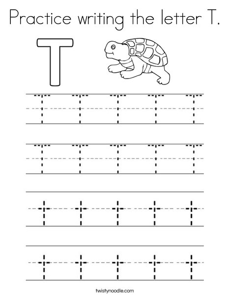 Practice writing the letter T Coloring Page - Twisty Noodle
