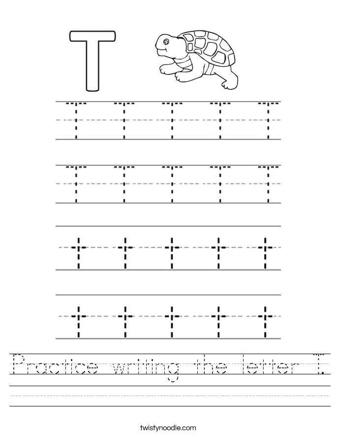 Practice writing the letter T Worksheet Twisty Noodle – Letter T Worksheets