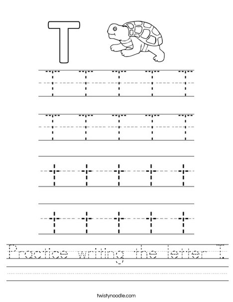 Practice Writing The Letter T Worksheet - Twisty Noodle