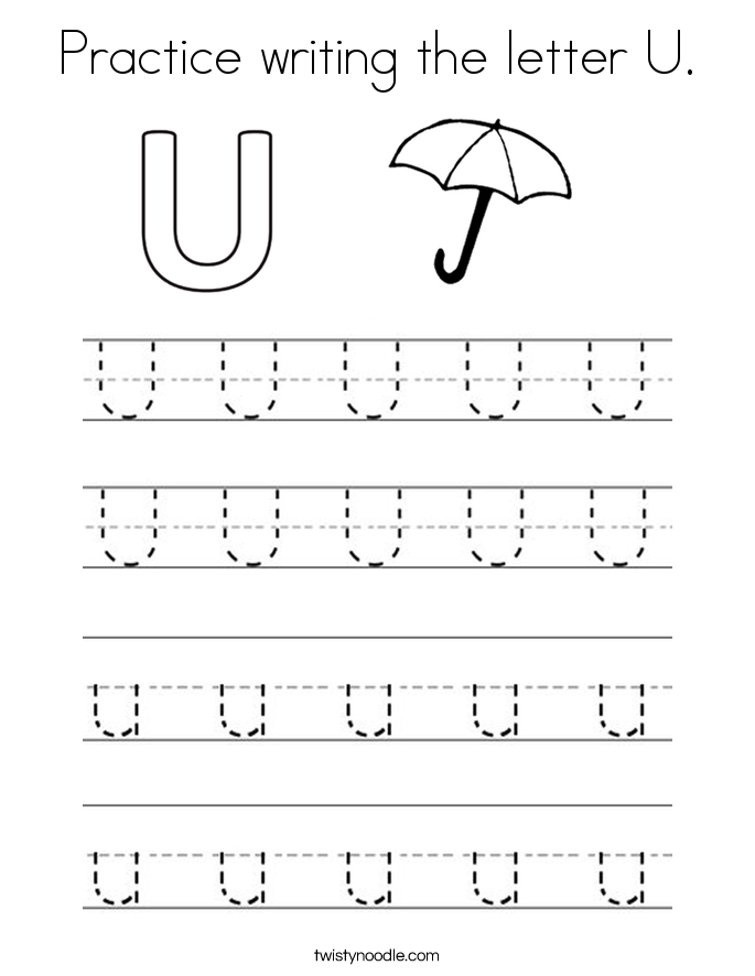Letter U Coloring Pages - Twisty Noodle