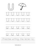 Practice writing the letter U Handwriting Sheet