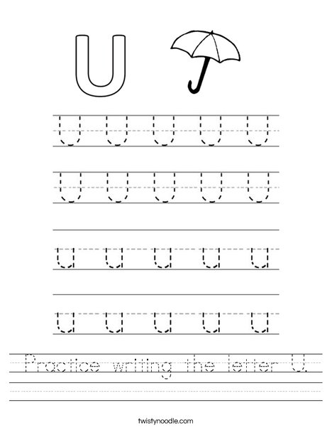 Number Names Worksheets worksheet writing : Practice writing the letter U Worksheet - Twisty Noodle