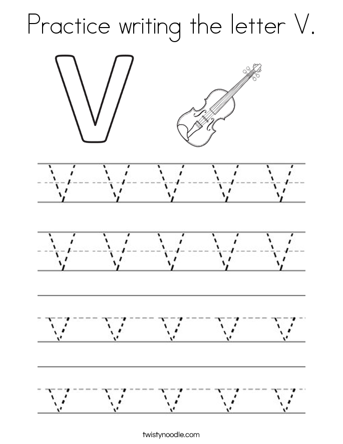 Practice writing the letter V. Coloring Page