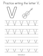 Practice writing the letter V Coloring Page