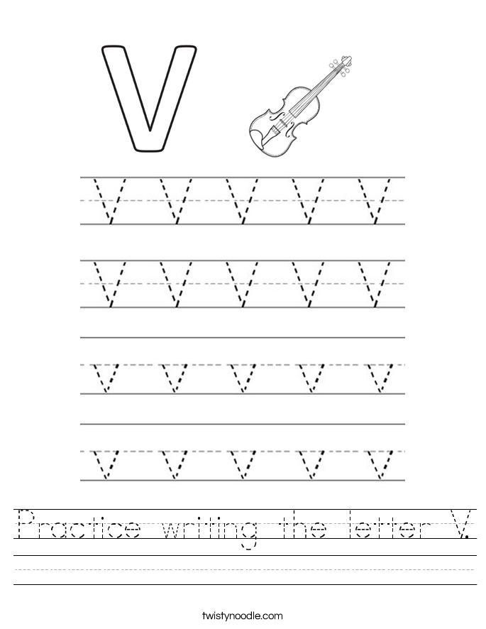 Practice writing the letter V. Worksheet