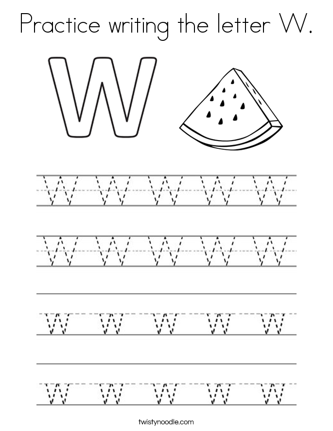 Letter W Coloring Pages Twisty Noodle