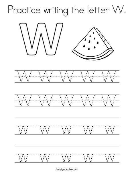 Practice writing the letter W. Coloring Page