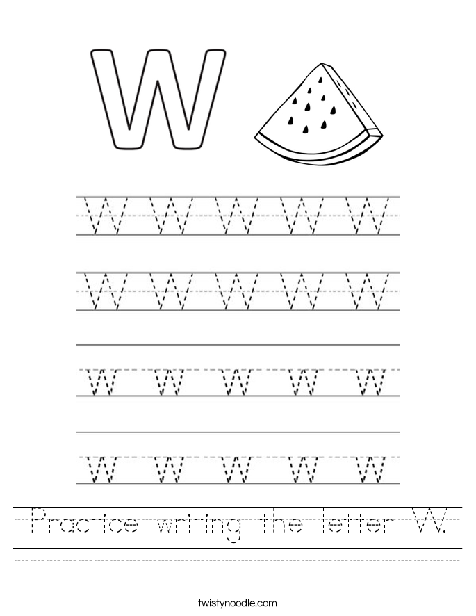 Printables Letter W Worksheets letter w worksheets twisty noodle practice writing the handwriting sheet