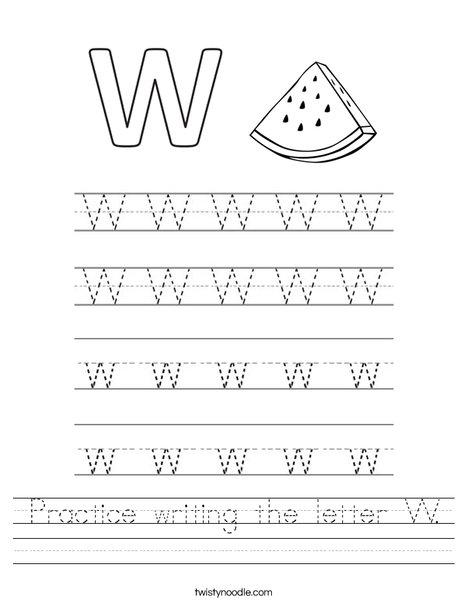 practice writing the letter w worksheet twisty noodle. Black Bedroom Furniture Sets. Home Design Ideas