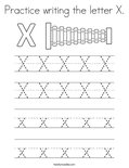 Practice writing the letter X. Coloring Page