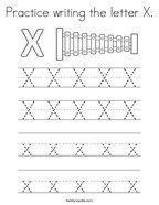 Practice writing the letter X Coloring Page