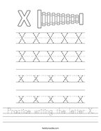 Practice writing the letter X Handwriting Sheet