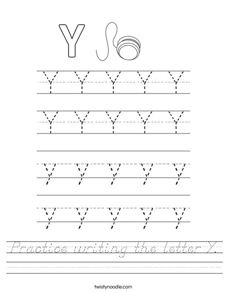 Practice writing the letter Y. Worksheet