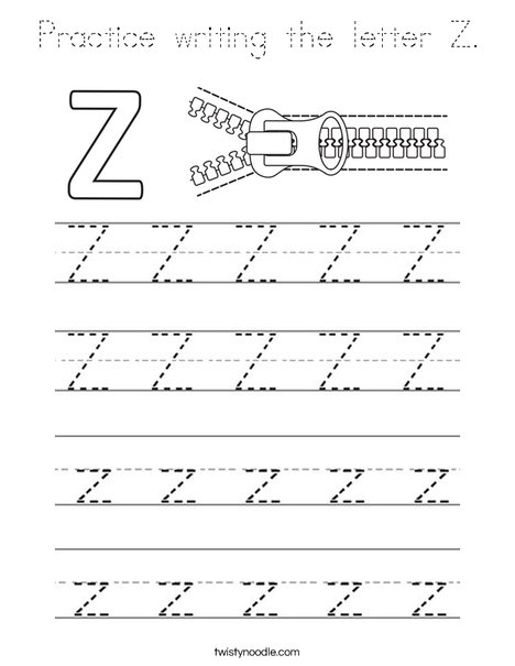 Practice writing the letter Z. Coloring Page