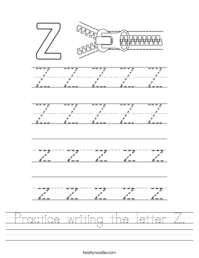 Practice writing the letter Z. Worksheet