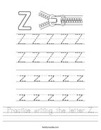 Practice writing the letter Z Handwriting Sheet