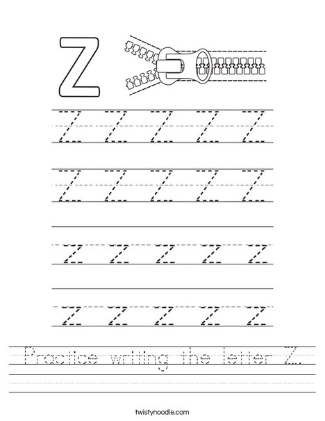 Practice Writing The Letter Z Worksheet