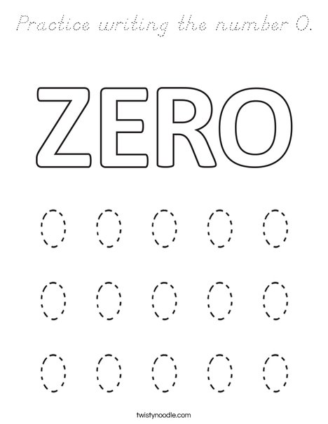 Practice writing the number 0. Coloring Page