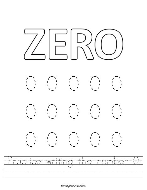 Practice writing the number 0. Worksheet