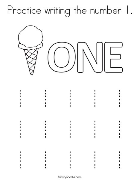 Practice writing the number 1. Coloring Page