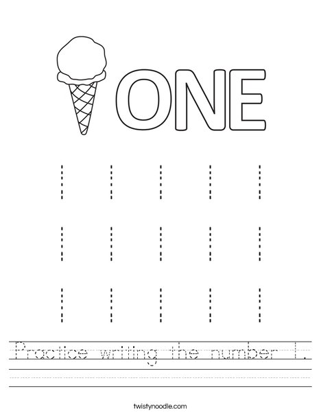Practice writing the number 1. Worksheet