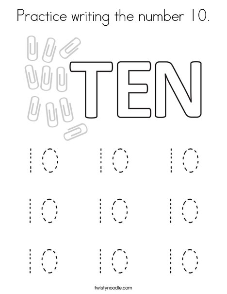 Practice writing the number 10. Coloring Page