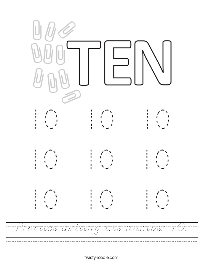 Practice writing the number 10. Worksheet