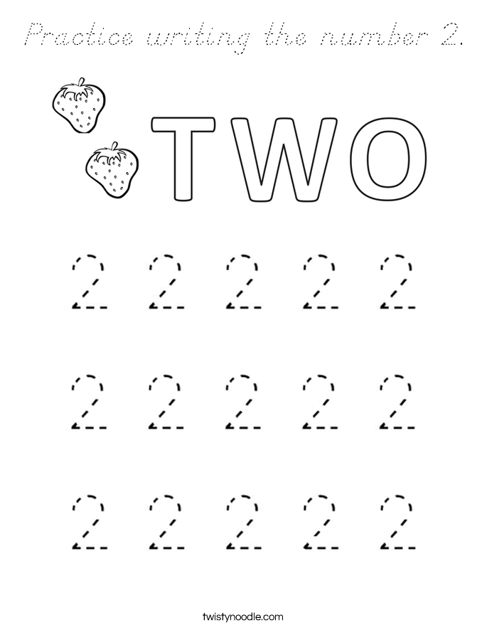 Practice writing the number 2. Coloring Page
