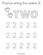 Practice writing the number 2 Coloring Page