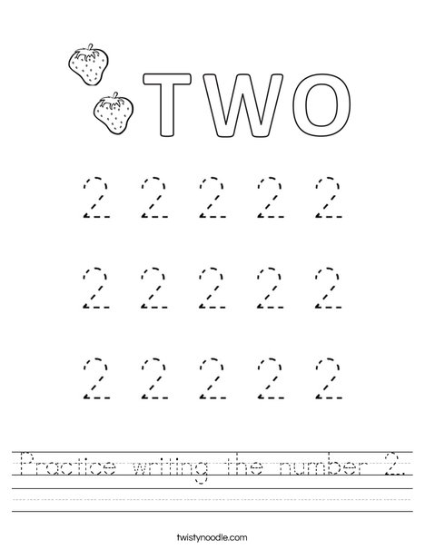 Practice writing the number 2. Worksheet