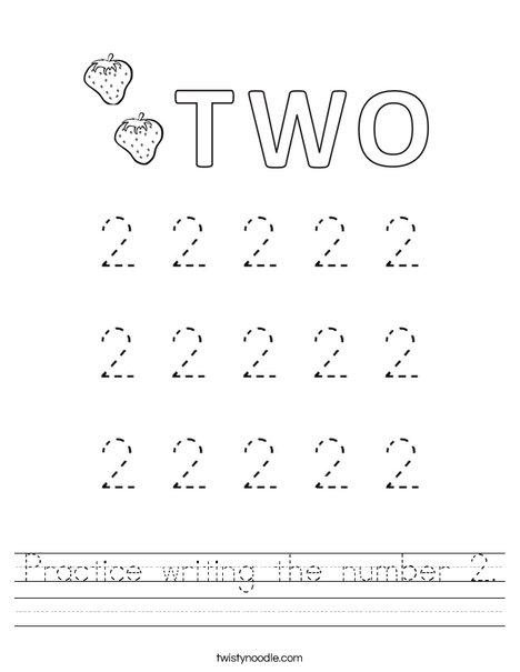 practice writing the number 2 worksheet twisty noodle. Black Bedroom Furniture Sets. Home Design Ideas