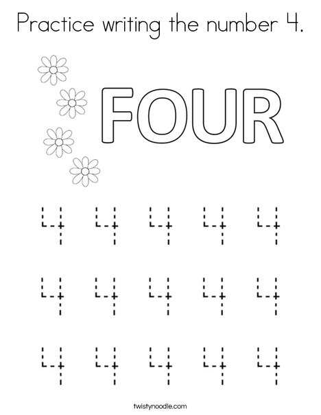 Practice writing the number 4. Coloring Page