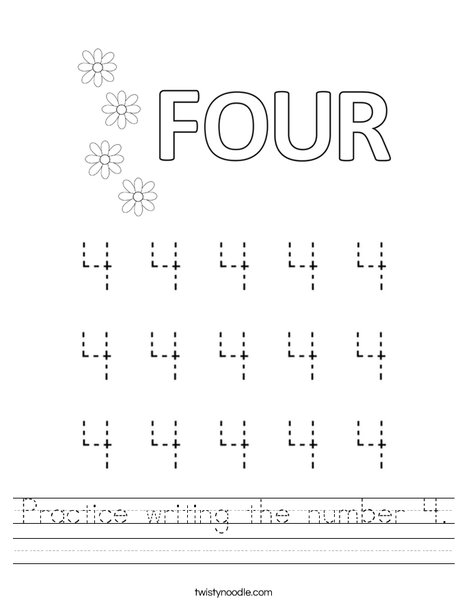 Practice writing the number 4 Worksheet - Twisty Noodle
