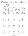 Practice writing the number 5. Coloring Page
