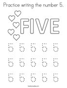 Practice writing the number 5 Coloring Page