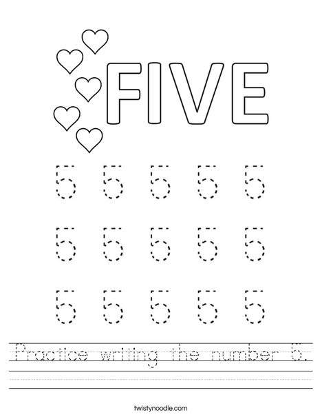 Practice writing the number 5. Worksheet