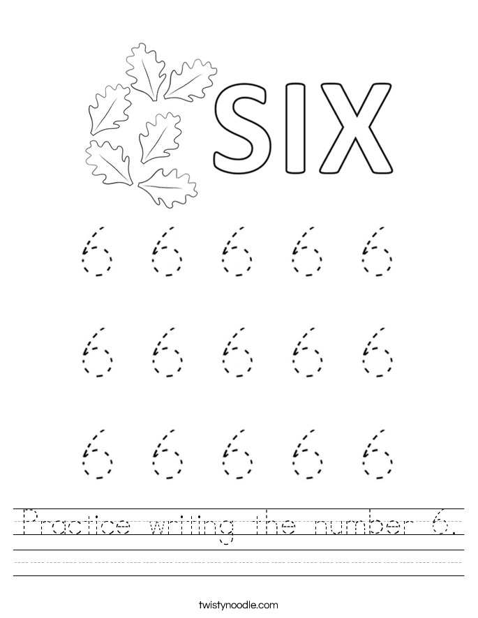 Practice writing the number 6 Worksheet - Twisty Noodle