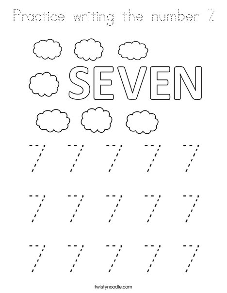 Practice writing the number 7. Coloring Page