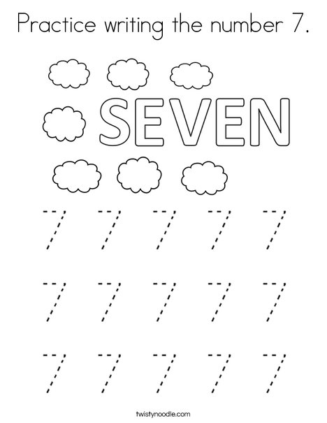 Practice Writing The Number 7 Coloring Page