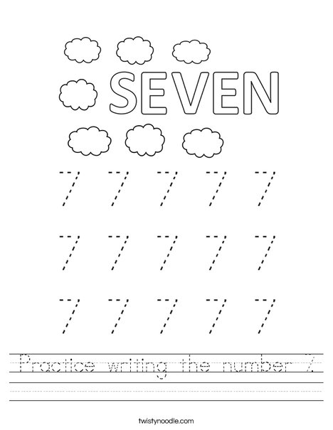 Practice writing the number 7. Worksheet