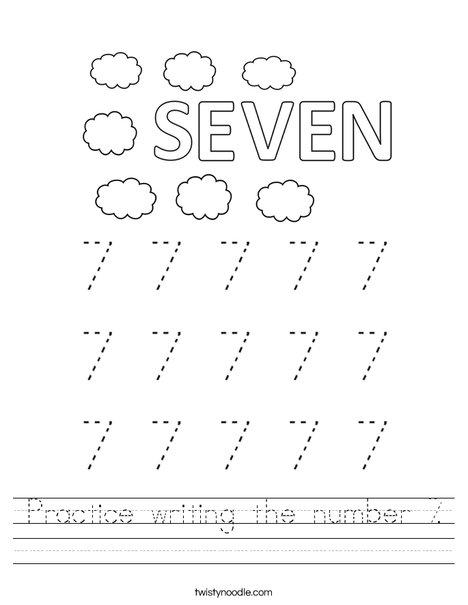 practice writing the number 7 worksheet twisty noodle. Black Bedroom Furniture Sets. Home Design Ideas
