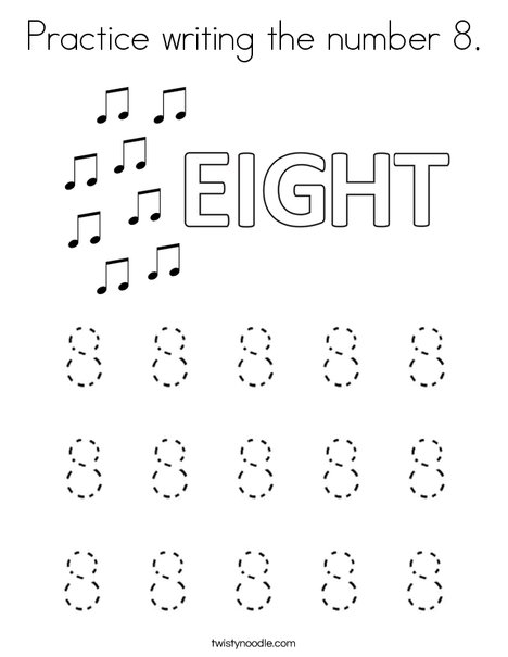 Practice writing the number 8. Coloring Page