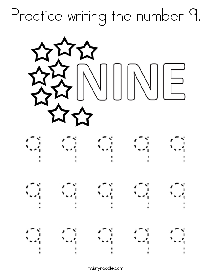 Practice writing the number 9. Coloring Page