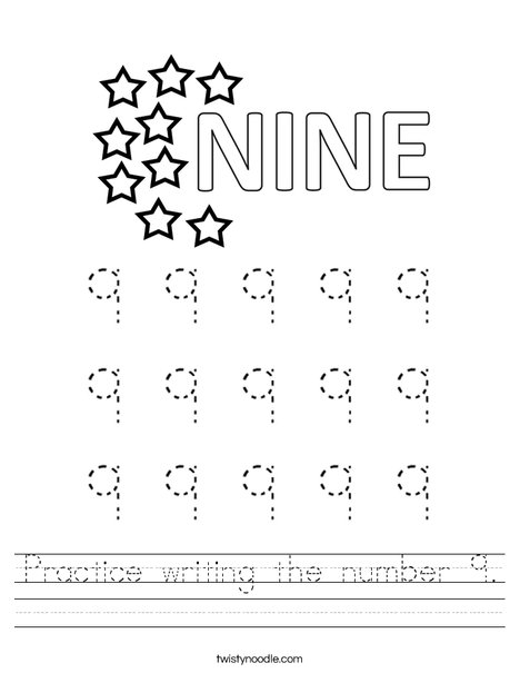 Practice writing the number 9. Worksheet
