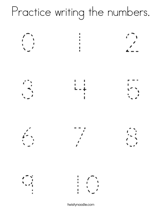 Practice writing the numbers. Coloring Page