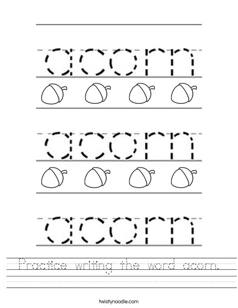 Practice writing the word acorn. Worksheet